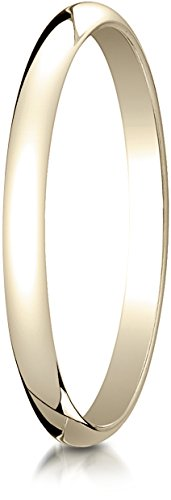 Benchmark 14K Yellow Gold 2mm Slightly Domed Traditional Oval Wedding Band Ring, Size 7 ()