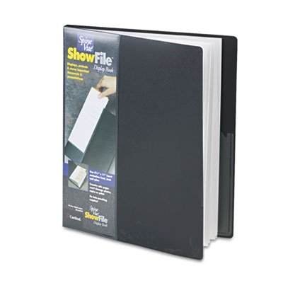 Showfile Display Book Letter - Cardinalamp;reg; SpineVue ShowFile Display Book with Wrap Pocket, 24 Letter-Size Sleeves, Black