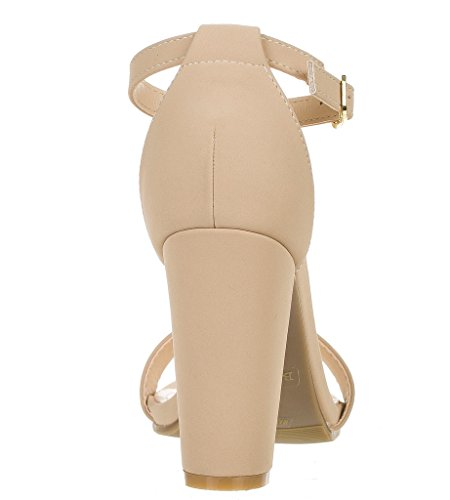 BAMBOO Pu Nubuck Single Strap Nude Ankle Heel Chunky Band Sandal Women's With rR7pTr