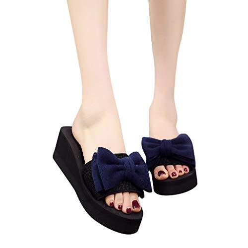 (ASERTYL shoes Women's Thick-Soled Slide Sandals Open Toe Bow Flip-Flop Summer Comfort for Outdoor Indoor Beach Walk Blue )