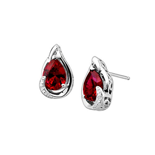 - 3 ct Created Ruby Stud Earrings with Diamonds in Sterling Silver