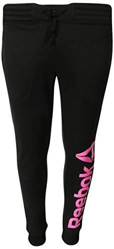 (Reebok Girl\'s Fleece Active Jogger Pants, Black, Large')