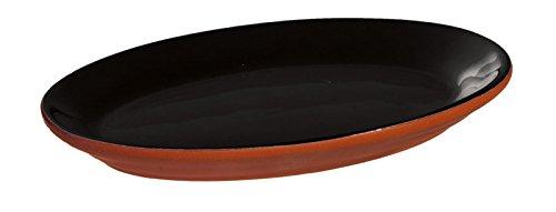 Black Dipped Terra Cotta Appetizer Plate ()