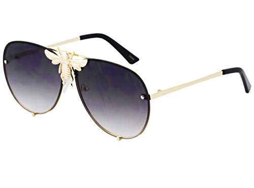 Flawless - Pilot Sunglasses Oversize Metal Frame Vintage Retro Men Women Shades (Black) (Sunglasses For Pilot Women)