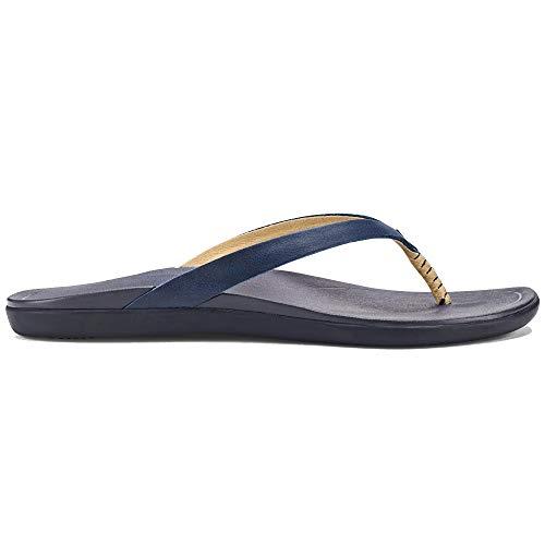 (OLUKAI Women's Ho'Opio Sandal, Navy/Trench Blue, 10 M US)
