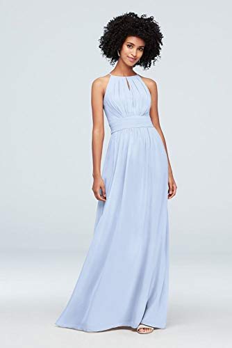 David's Bridal High-Neck Chiffon Bridesmaid Dress with Keyhole Style F19953, Ice Blue, 10
