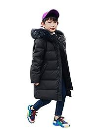 YEEFINE SNOWING Kids Mid-Long Down Jacket Puffer Coat for Big Boys