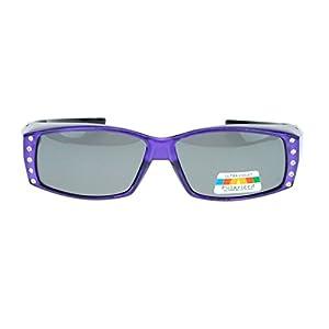 Womens Rhinestone Rectangular Polarized Fit Over Glasses Sunglasses Purple Black