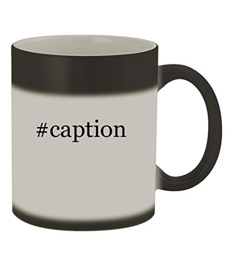 #caption - 11oz Color Changing Hashtag Sturdy Ceramic Coffee Cup Mug, Matte Black