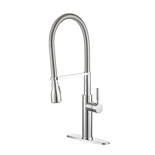 Enzo Rodi Modern Spring Commercial High-arc Lead-free Brass Pull-down Kitchen Sink Faucet with Pull-out Sprayer, Chrome, ERF7356390CP-10 ()