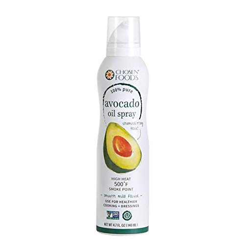 Chosen Foods 100% Pure Avocado Oil Spray 4.7 oz. (2 Pack), Non-GMO, 500° F Smoke Point, Propellant-Free, Air Pressure Only for High-Heat Cooking, Baking and Frying
