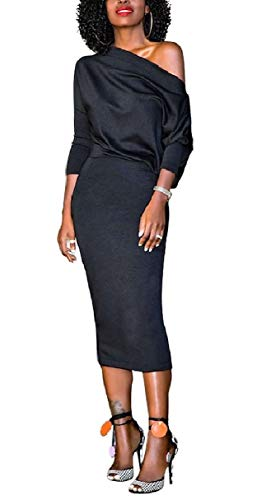 Coolred-femmes Crayon De Couleur Pure En Dessous Du Genou Une Robe Elegent D'épaule Noires
