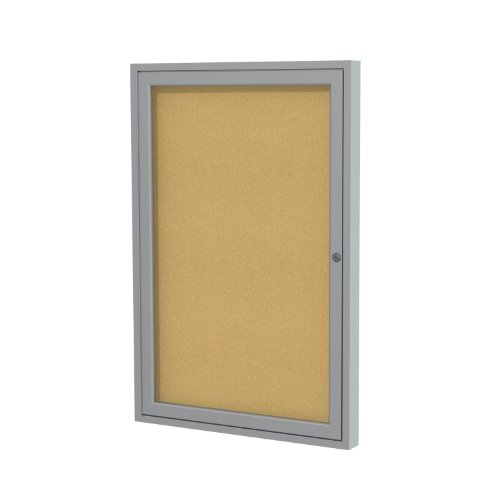 """Ghent 24""""x18""""   1-Door indoor  Enclosed Bulletin Board, Shatter Resistant, with Lock, Satin Aluminum Frame - Natural Cork (PA12418K)  Made in the USA"""
