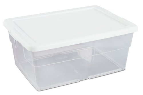 Sterilite 16448012 16 Quart/15 Liter Storage Box, White Lid with Clear Base, 12-Pack (Clear Base Lid)