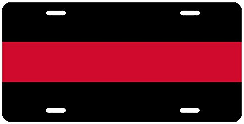 Rogue River Tactical Thin Red Line Firefighter Lives Matter License Plate Novelty Auto Car Tag Vanity Gift For Fire Fighters ()