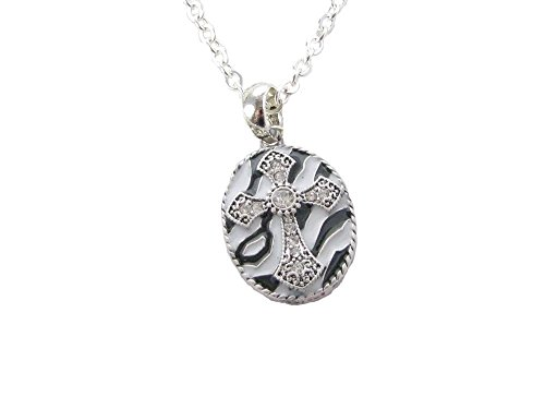 Crystal Oval Cross (Cross on Zebra Print Clear Crystals Silver Chain Oval Necklace Jewelry)