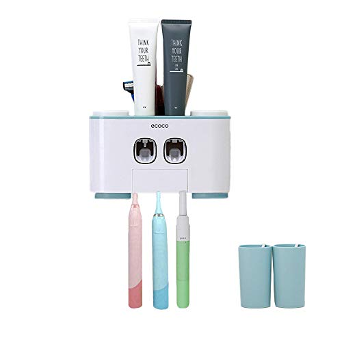 Toothbrush Dispenser Toothpaste (Wekity Toothbrush Holder Multifunctional Wall-Mounted Space-Saving Toothbrush and Toothpaste Squeezer Kit with Dustproof Cover, 5 Toothbrush Slots, 2 Automatic Toothpaste Dispenser and 4 Cups (Blue))