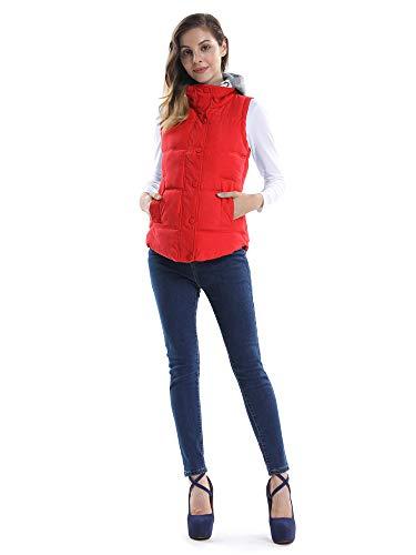 Femme Manteau Gilet Coton Sans Quatre Hiver Manches vingts Epais Casual Rouge Sports Hood Automne Uf5q5Zw6x