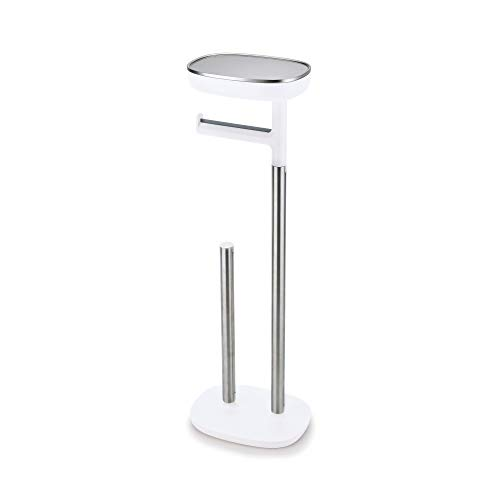 - Joseph Joseph 70518 EasyStore Butler Toilet Paper Holder Stand and Spare Roll Storage with Shelf and Drawer, Stainless Steel