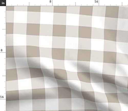 Spoonflower Gingham Fabric - Gustav Bold Check in Belgian Linen Plaid Beige White Tartan Taupe Tan Checks Print on Fabric by The Yard - Eco Canvas for Durable Upholstery Home Decor Accessories