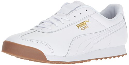 PUMA Men's Roma Classic Gum Sneaker, White-teamgold, 9 M US