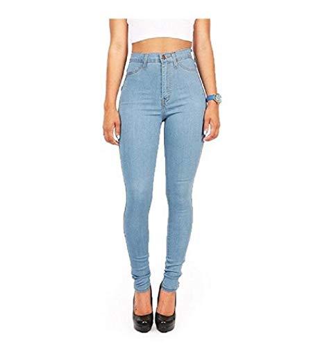 Femmes Jeans Haute Crayon Unicolore Pantalon Avant Skinny Taille Breal Pour Poches Simple De Blau Stretch Bouton Aj54LR