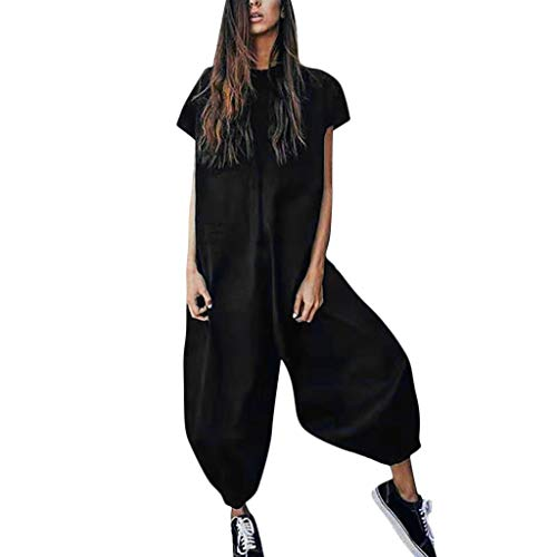 Eakyool Elastic Loose Waist Slim Pockets,Women O-Neckline Solid Romper Short Sleeve Casual Zipper Loose Jumpsuits Black
