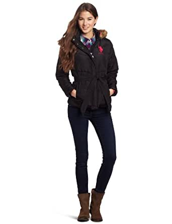 US Polo Assn. Junior's Hooded Jacket With Belt, Black/Pink, Small