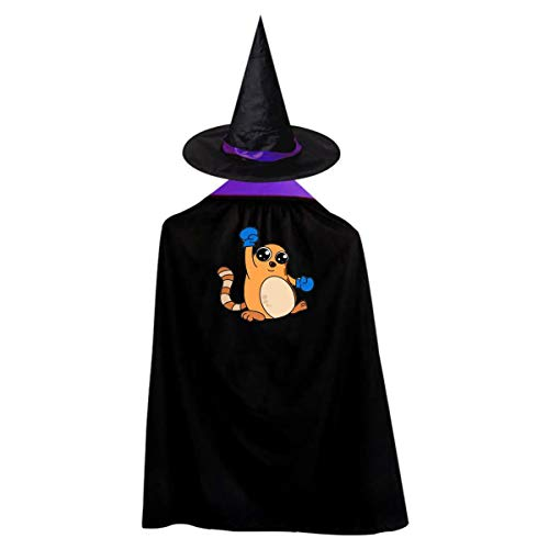 Boxing Cat Kids' Witch Cape With Hat Simple Vampire Cloak For Halloween Cosplay -