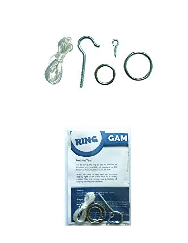 HTX Games DIY Hook and Ring Game Hardware Set - 2 Size Rings for Increased Challenge and Fun! Indoor and Outdoor Hook and Ring Toss Game (Hardware Only) -