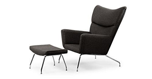(Kardiel Charcoal Hans J Wegner Style Wing Chair & Ottoman, Tweed Danish Wool)