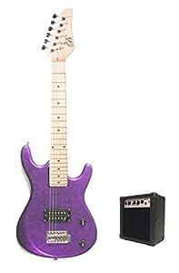 metallic purple junior kids mini 3 4 electric guitar amp starter pack guitar. Black Bedroom Furniture Sets. Home Design Ideas