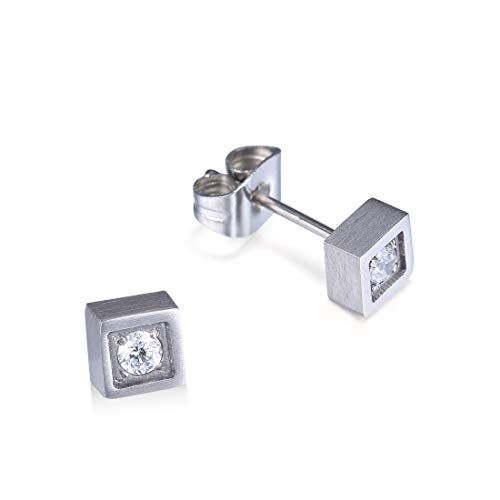 TGNEL Titanium Small Stud Earrings for Men Women with Brilliant CZ Stone Inlay Geometric Heart Square Round Design (TIE030)