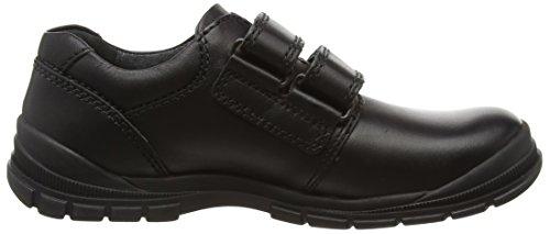 Engineer Black Leather Boys Rip-tape School Shoes Black / E / 9
