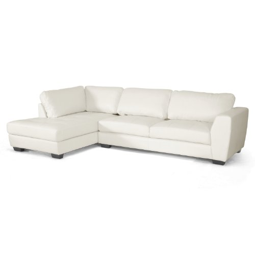 Baxton Studio Orland Leather Modern Sectional Sofa Set with Left Facing Chaise, White Cream Leather Sectional Sofa