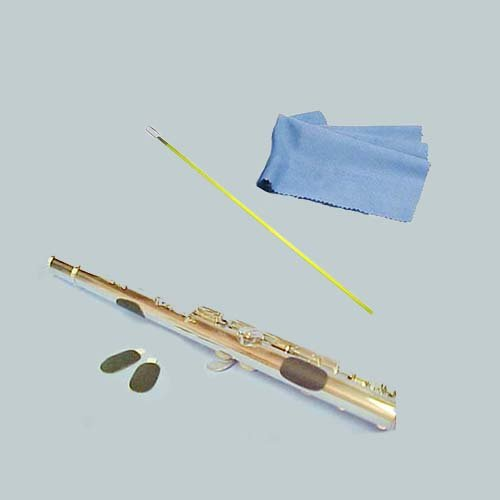 Flute Players Accessory Bundle - Flute Guide Finger Cushions + Yellow Flute Cleaning Rod & Cleaning Cloth Flute Essentials FAP-Yl