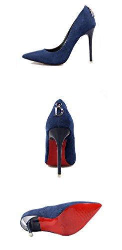 Minetom Mujer Zapatos de Tacón con Punta Cerrada Clásico Trabajo High Heel Shoes Ante Zapatos de Tacón Stiletto Azul