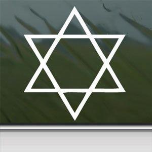 Israel Star Of David Judaica Jewish Jew White Sticker Car Window Wall Macbook Notebook Laptop Sticker Graphic - Peel and Stick - Decorative Sticker