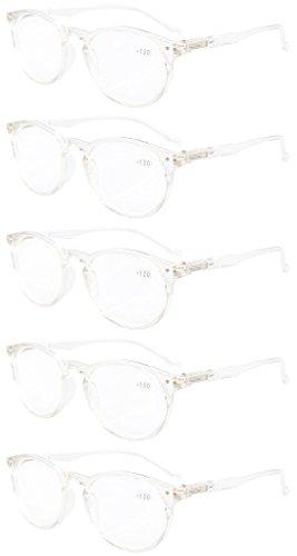 Eyekepper 5-Pack Oval Round Spring Hinges Eyeglasses Transparent - On Eyeglass Home At Frames Try