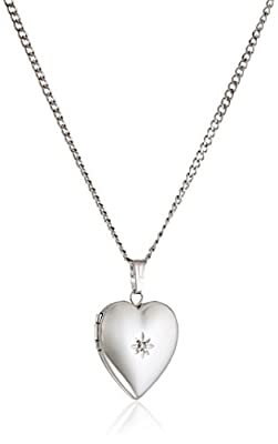 Sterling Silver Diamond-Accented Heart Locket Necklace, 18""