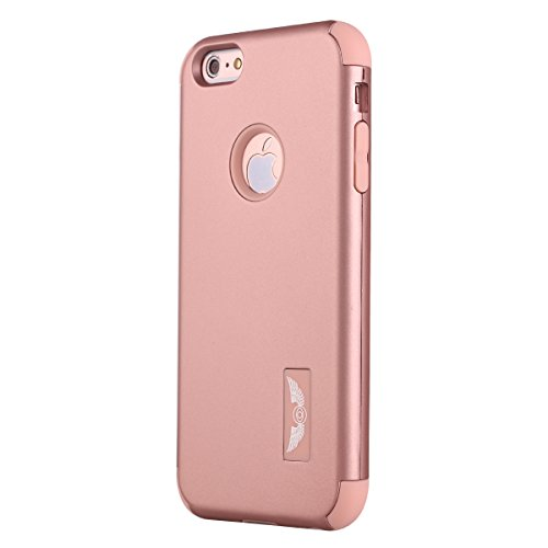iPhone 6S Plus Case Pandawell™ Shockproof Hybrid High Impact Hard Plastic+Soft Silicon Rubber Armor Defender Case Cover for Apple iPhone 6S Plus / 6 Plus 5.5 inch - All Rose Gold