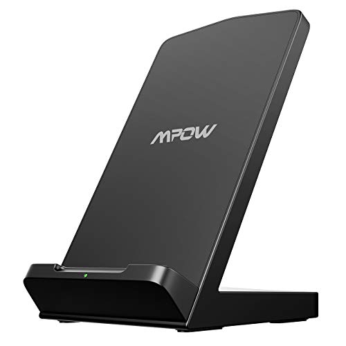 Mpow Fast Wireless Charger Stand, Qi-Certified Charger, Compatible with iPhone Xs MAX/XR/XS/X/8/8 Plus, 10W Qi Charger for Galaxy S10/S10E/S9/S9 Plus/Note 9, 5W for All Qi-Enabled Phones (No Adapter)