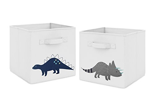 Navy Blue and Grey Modern Dino Foldable Fabric Storage Cube Bins Boxes Organizer Toys Kids Baby Childrens for Mod Dinosaur Collection by Sweet Jojo Designs - Set of -
