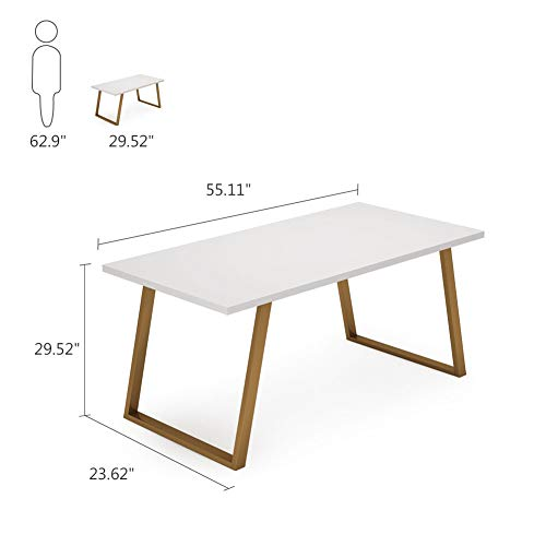 Tribesigns 55'' White Writing Desk, Minimalist Computer Desk with Slanted Gold Metal Frame, Simple Style Study Laptop Table for Home Office (White+Glod) by Tribesigns (Image #6)