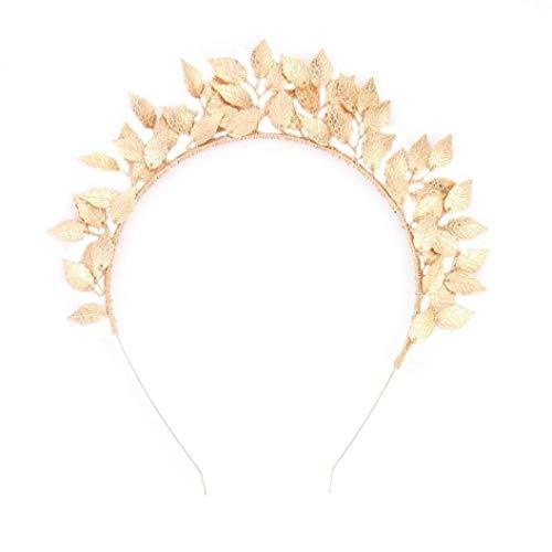 Women Leaf Leaves Laurel Greek Roman Costume Band Wedding Party Jewelry Bride Crown Rhinestone Crystal Hair Headband Gold and Silver (Gold)