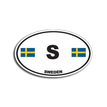 S SWEDEN Country Auto Oval Flag - Window Bumper (Sweden Country Flag)