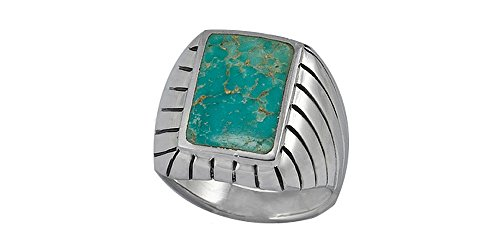 Sterling Silver 10x15mm Genuine Turquoise SouthWest Men's Ring (Size T15)