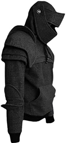 メンズ カジュアル ジャケット コート 中世騎士 アーマー プルオーバー フーディ スウェットシャツ