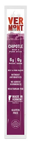Vermont Smoke & Cure Meat Sticks - Antibiotic Free Beef & Pork Sticks - Gluten-Free Snack - Paleo and Keto Friendly - Nitrate Free - Chipotle - 1oz Stick - 24 Count