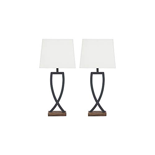 - Ashley Furniture Signature Design - Makara Metal Table Lamps - Set of 2 - Sleek - Black/Brown